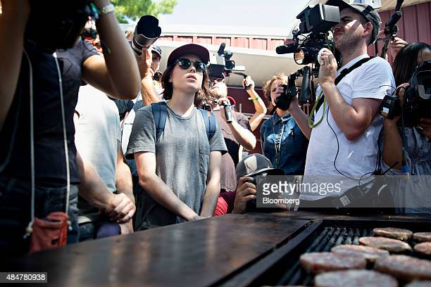 Actress Ellen Page questions Senator Ted Cruz a Republican from Texas and 2016 presidential candidate not pictured on gayrights issues as Cruz works...