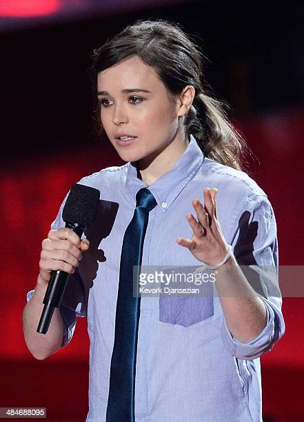 Actress Ellen Page speaks onstage at the 2014 MTV Movie Awards at Nokia Theatre LA Live on April 13 2014 in Los Angeles California