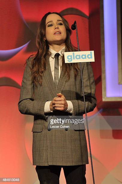 Actress Ellen Page speaks onstage during the 25th Annual GLAAD Media Awards at The Beverly Hilton Hotel on April 12 2014 in Beverly Hills California