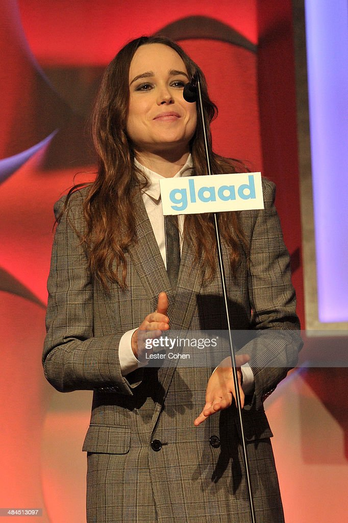 Actress <a gi-track='captionPersonalityLinkClicked' href=/galleries/search?phrase=Ellen+Page&family=editorial&specificpeople=623049 ng-click='$event.stopPropagation()'>Ellen Page</a> speaks onstage during the 25th Annual GLAAD Media Awards at The Beverly Hilton Hotel on April 12, 2014 in Beverly Hills, California.