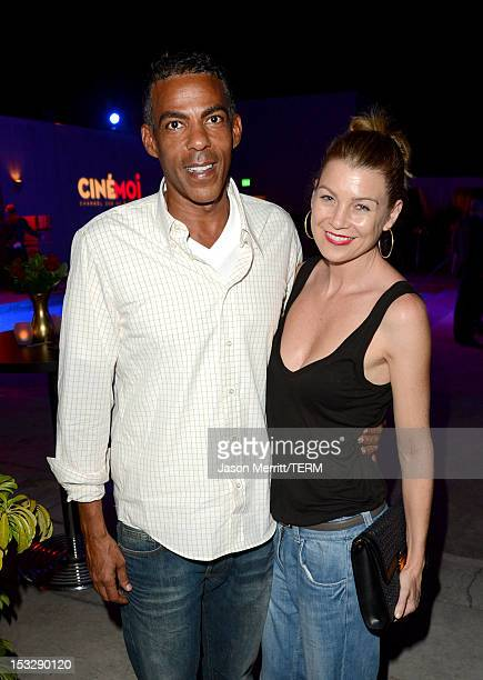Actress Ellen Pompeo and Chris Ivery attend the Cinmoi North American Launch Party at L'Ermitage on October 2 2012 in Beverly Hills California Cinmoi...