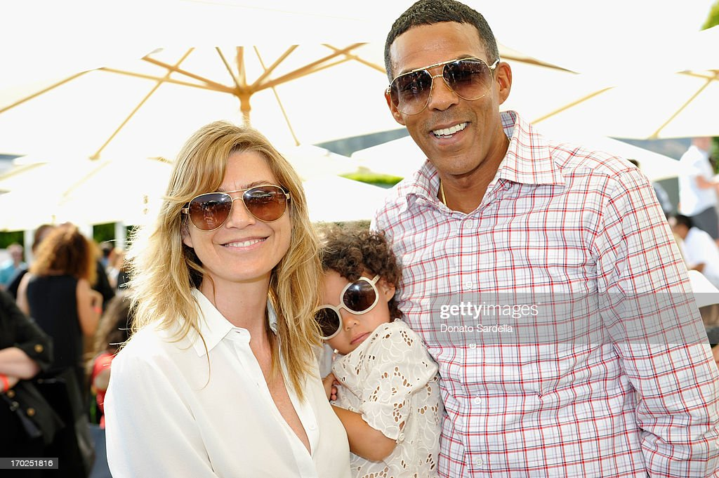 Actress Ellen Pompeo and Chris Ivery with daughter Stella Ivery attend the 1st Annual Children Mending Hearts Style Sunday on June 9, 2013 in Beverly Hills, California.