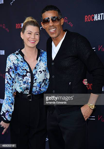 Actress Ellen Pompeo and her husband Chris Ivery arrive at the Roc Nation PreGRAMMY Brunch presented by MAC Viva Glam on January 25 2014 in Los...