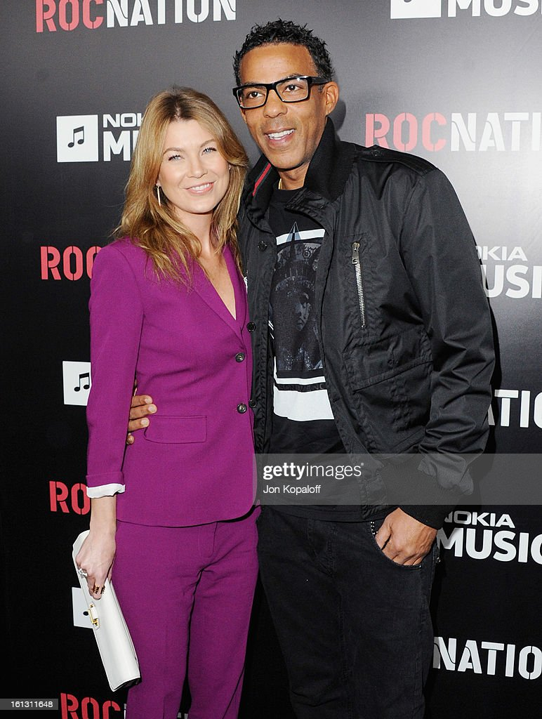 Actress <a gi-track='captionPersonalityLinkClicked' href=/galleries/search?phrase=Ellen+Pompeo&family=editorial&specificpeople=240269 ng-click='$event.stopPropagation()'>Ellen Pompeo</a> and husband <a gi-track='captionPersonalityLinkClicked' href=/galleries/search?phrase=Chris+Ivery&family=editorial&specificpeople=4109706 ng-click='$event.stopPropagation()'>Chris Ivery</a> arrive at Roc Nation Hosts Annual Private Pre-GRAMMY Brunch at Soho House on February 9, 2013 in West Hollywood, California.