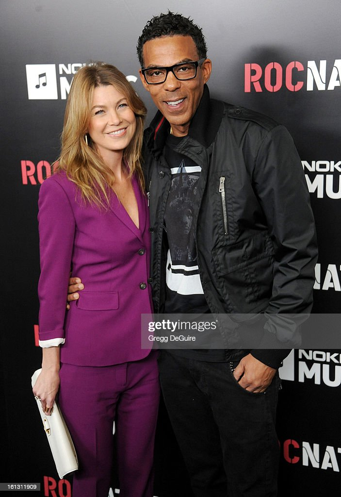 Actress <a gi-track='captionPersonalityLinkClicked' href=/galleries/search?phrase=Ellen+Pompeo&family=editorial&specificpeople=240269 ng-click='$event.stopPropagation()'>Ellen Pompeo</a> and husband <a gi-track='captionPersonalityLinkClicked' href=/galleries/search?phrase=Chris+Ivery&family=editorial&specificpeople=4109706 ng-click='$event.stopPropagation()'>Chris Ivery</a> arrive at Roc Nation Pre-GRAMMY brunch at Soho House on February 9, 2013 in West Hollywood, California.