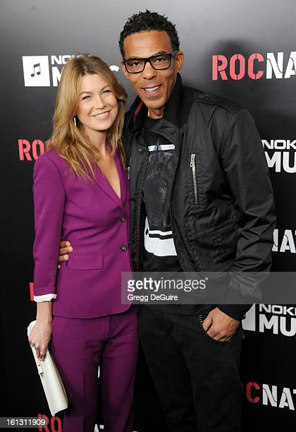 Actress Ellen Pompeo and husband Chris Ivery arrive at Roc Nation PreGRAMMY brunch at Soho House on February 9 2013 in West Hollywood California