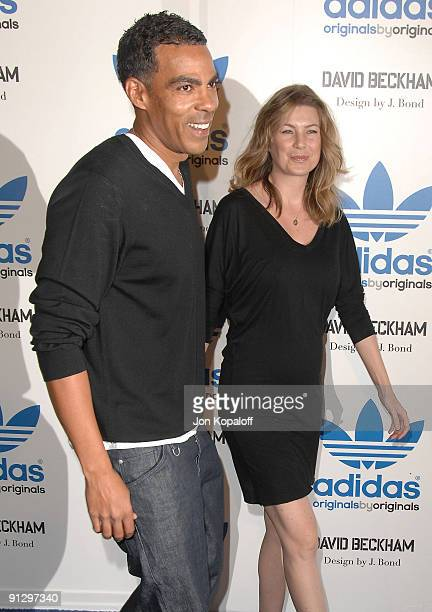 Actress Ellen Pompeo and husband Chris Ivery pose at the David Beckham And James Bond Adidas Originals on September 30 2009 in Los Angeles California