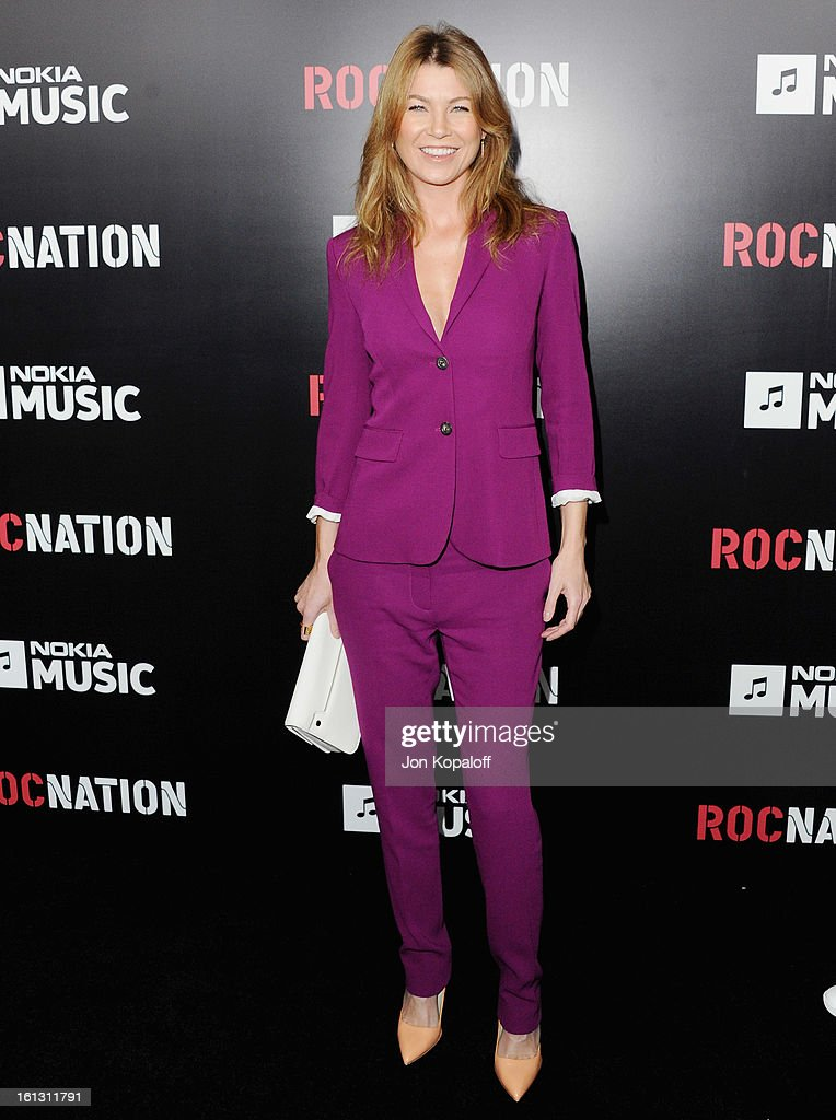 Actress Ellen Pompeo arrives at Roc Nation Hosts Annual Private Pre-GRAMMY Brunch at Soho House on February 9, 2013 in West Hollywood, California.