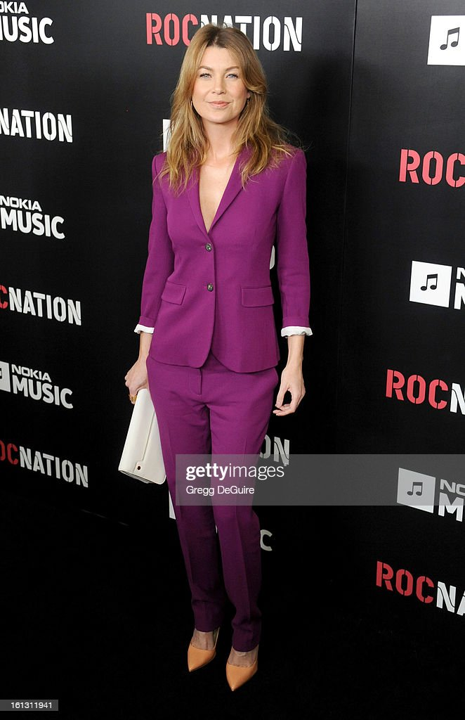 Actress Ellen Pompeo arrives at Roc Nation Pre-GRAMMY brunch at Soho House on February 9, 2013 in West Hollywood, California.