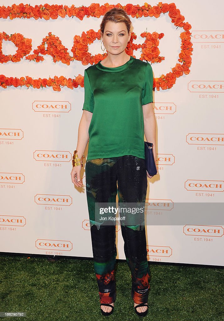 Actress Ellen Pompeo arrives at the 3rd Annual Coach Evening To Benefit Children's Defense Fund at Bad Robot on April 10, 2013 in Santa Monica, California.