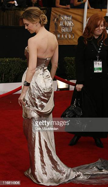 Actress Ellen Pompeo arrives on the red carpet for the 14th Annual Screen Actors Guild Awards held at the Shrine Auditorium on January 27 2008 in Los...
