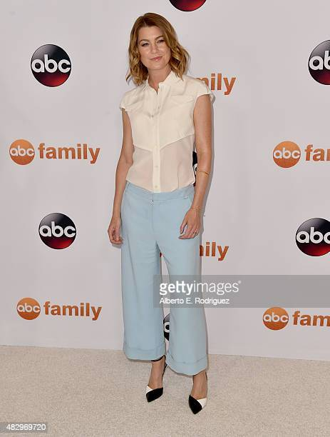 Actress Ellen Pompeo attends Disney ABC Television Group's 2015 TCA Summer Press Tour at the Beverly Hilton Hotel on August 4 2015 in Beverly Hills...