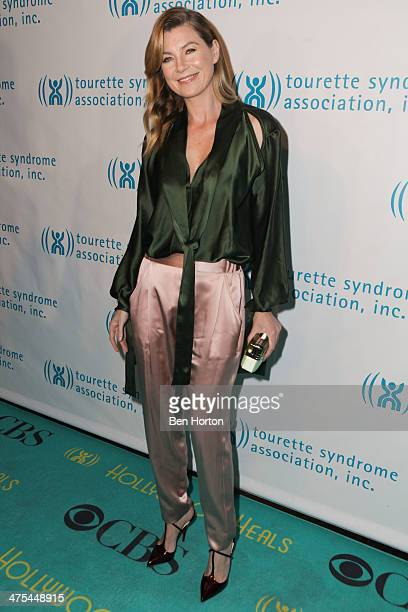 Actress Ellen Pompeo attends Hollywood Heals Spotlight On Tourette Syndrome at The Conga Room at LA Live on February 27 2014 in Los Angeles California