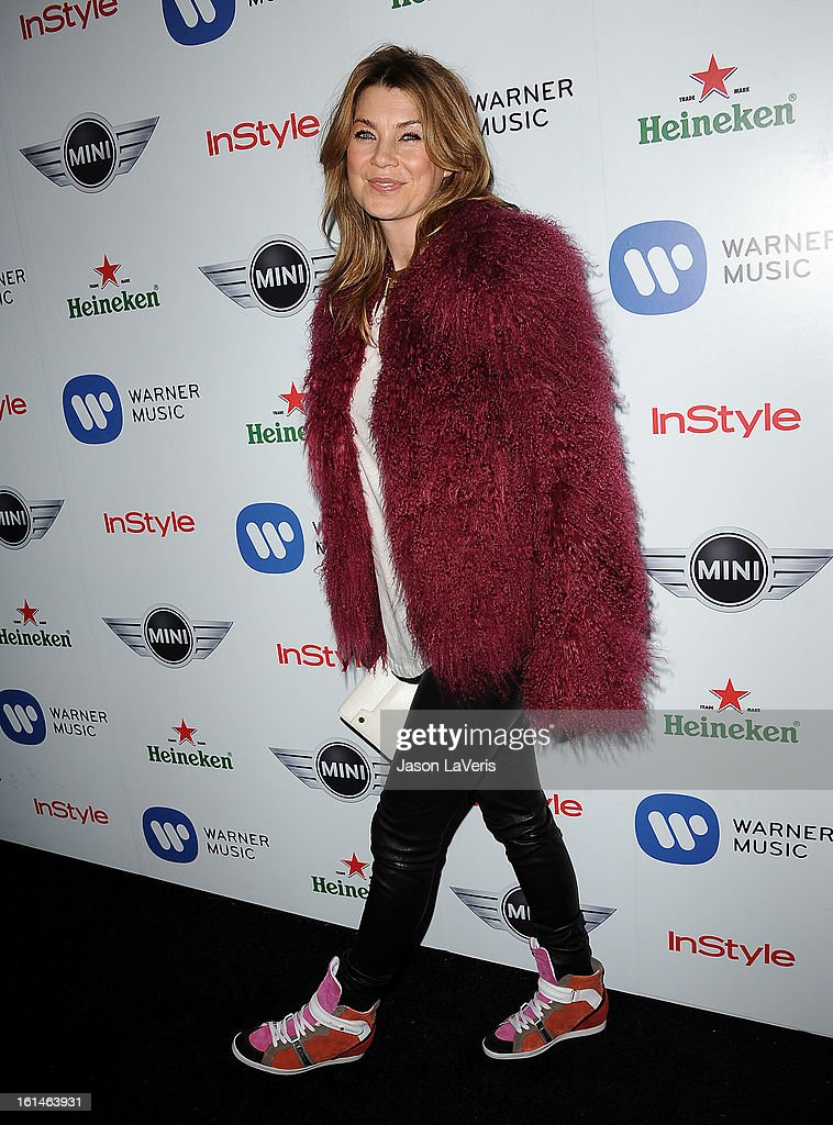 Actress Ellen Pompeo attends the Warner Music Group 2013 Grammy celebration at Chateau Marmont on February 10, 2013 in Los Angeles, California.