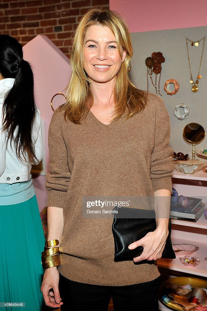 Actress <a gi-track='captionPersonalityLinkClicked' href=/galleries/search?phrase=Ellen+Pompeo&family=editorial&specificpeople=240269 ng-click='$event.stopPropagation()'>Ellen Pompeo</a> celebrates the launch of Hunters Alley at The Unique Space on March 13, 2014 in Los Angeles, California.