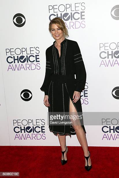 Actress Ellen Pompeo poses in the press room at the People's Choice Awards 2016 at Microsoft Theater on January 6 2016 in Los Angeles California