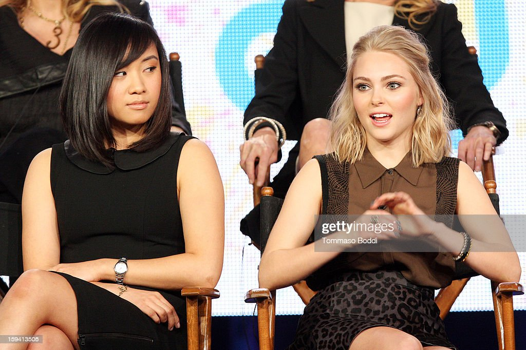 Actress Ellen Wong (L) and actress AnnaSophia Robb of the TV show 'The Carrie Diaries' attend the 2013 TCA Winter Press Tour CW/CBS panel held at The Langham Huntington Hotel and Spa on January 13, 2013 in Pasadena, California.