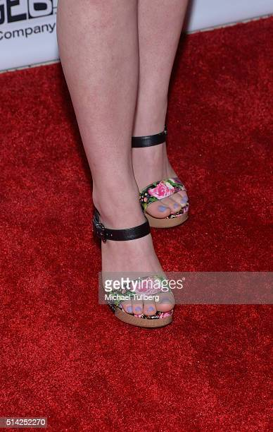 Actress Ellery Sprayberry shoe detail attends the premiere of Sony Pictures Classics' 'The Bronze' at the Regent Theater on March 7 2016 in Los...