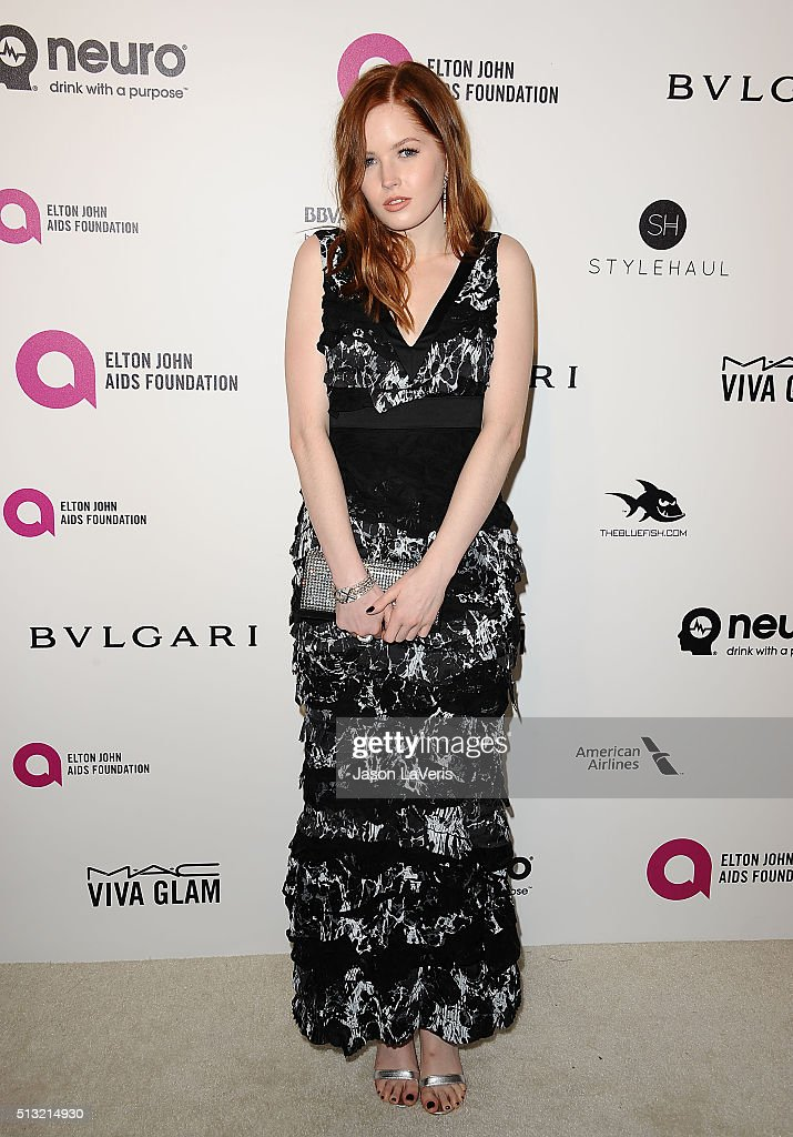 Actress Ellie Bamber attends the 24th annual Elton John AIDS Foundation's Oscar viewing party on February 28 2016 in West Hollywood California
