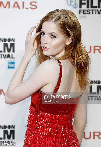 Actress Ellie Bamber attends the 'Nocturnal Animals' Headline Gala screening during the 60th BFI London Film Festival at Odeon Leicester Square on...