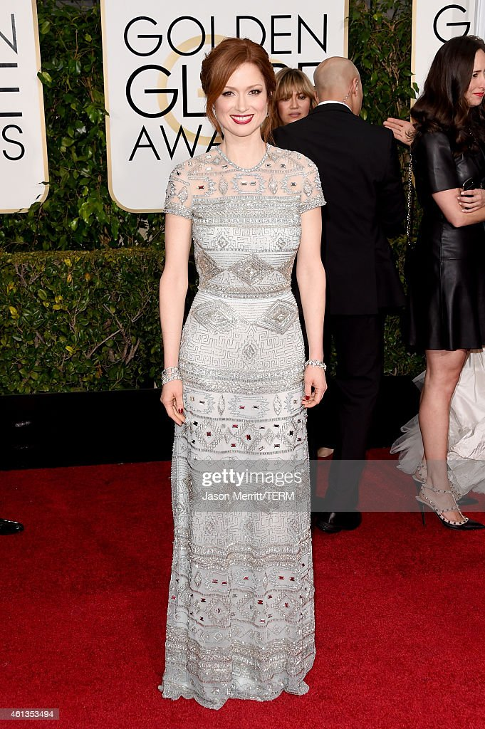 Actress <a gi-track='captionPersonalityLinkClicked' href=/galleries/search?phrase=Ellie+Kemper&family=editorial&specificpeople=6123842 ng-click='$event.stopPropagation()'>Ellie Kemper</a> attends the 72nd Annual Golden Globe Awards at The Beverly Hilton Hotel on January 11, 2015 in Beverly Hills, California.