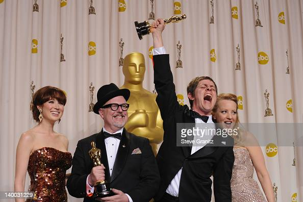 Actress Ellie Kemper filmmakers William Joyce and Brandon Oldenburg and actress Wendi McLendonCovey pose in the press room at the 84th Annual Academy...