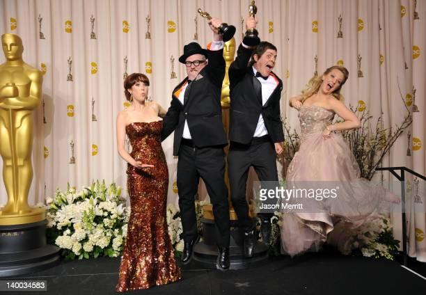 Actress Ellie Kemper filmmakers William Joyce and Brandon Oldenburg winners of the Animated Short Film Award for 'The Fantastic Flying Books of Mr...
