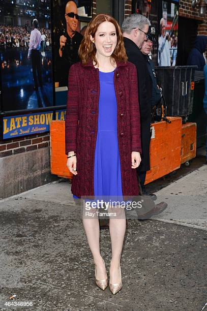 Actress Ellie Kemper leaves the 'Late Show With David Letterman' taping at the Ed Sullivan Theater on February 24 2015 in New York City