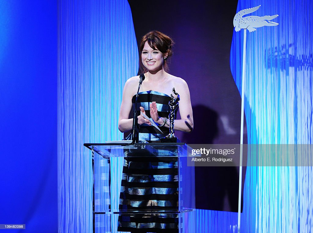 Actress <a gi-track='captionPersonalityLinkClicked' href=/galleries/search?phrase=Ellie+Kemper&family=editorial&specificpeople=6123842 ng-click='$event.stopPropagation()'>Ellie Kemper</a> onstage during the 14th Annual Costume Designers Guild Awards With Presenting Sponsor Lacoste held at The Beverly Hilton hotel on February 21, 2012 in Beverly Hills, California.