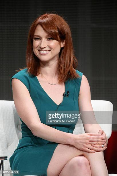 Actress Ellie Kemper speaks onstage during the 'Unbreakable Kimmy Schmidt' panel discussion at the Netflix portion of the 2015 Summer TCA Tour at The...