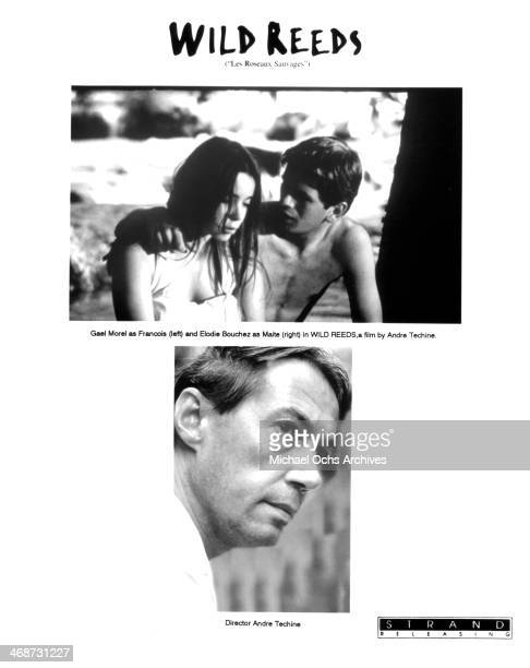Actress Elodie Bouchez and actor Gael Morel on set Director Andre Techine on set of the movie 'Wild Reeds' circa 1994