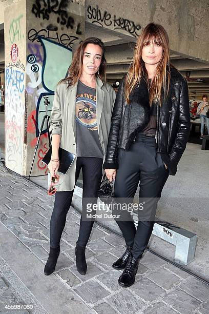 Actress Elodie Bouchez and Model Caroline de Maigret attend the Anthony Vaccarello show as part of the Paris Fashion Week Womenswear Spring/Summer...