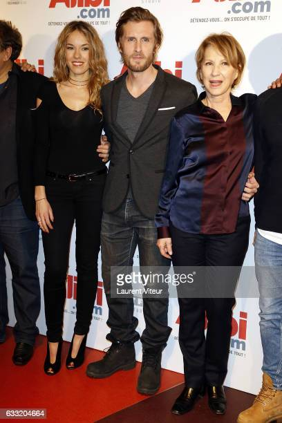 Actress Elodie Fontan Actor and Director Philippe Lacheau and Actress Nathalie Baye attend the 'Alibicom' Paris Premiere at Cinema Gaumont Opera on...