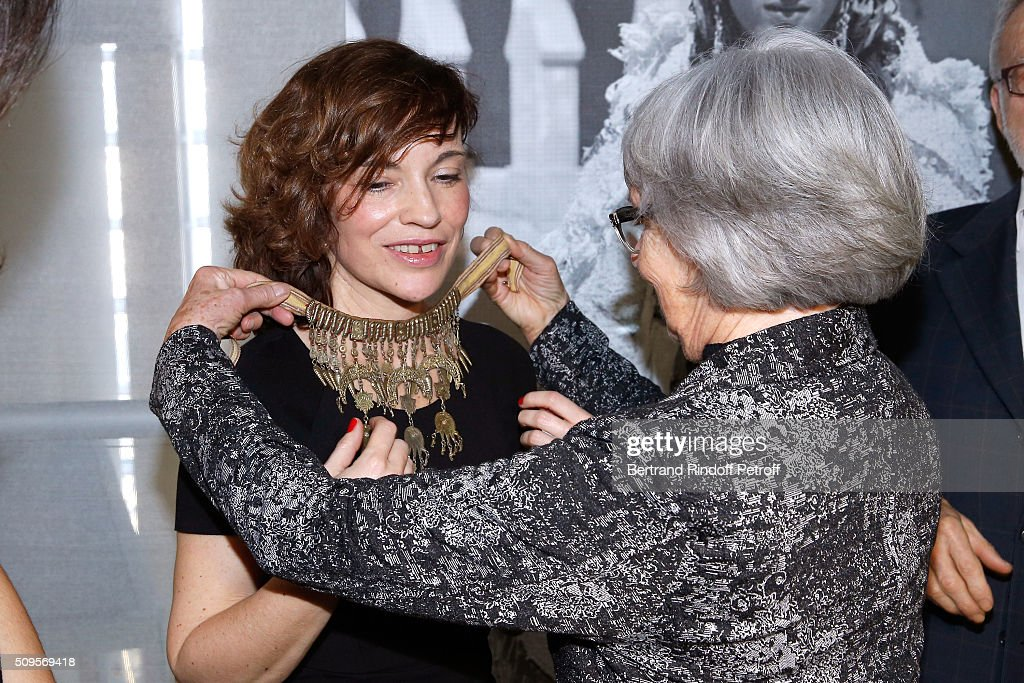Actress Elodie Mennegand, wearing jewelry of the collection, and Jewelry Collector Malou Bouvier attend the Opening of the Exhibition 'Tresors à porter', Treasures to wear, presented in the Museum of the 'Institut du Monde Arabe' on February 11, 2016 in Paris, France.