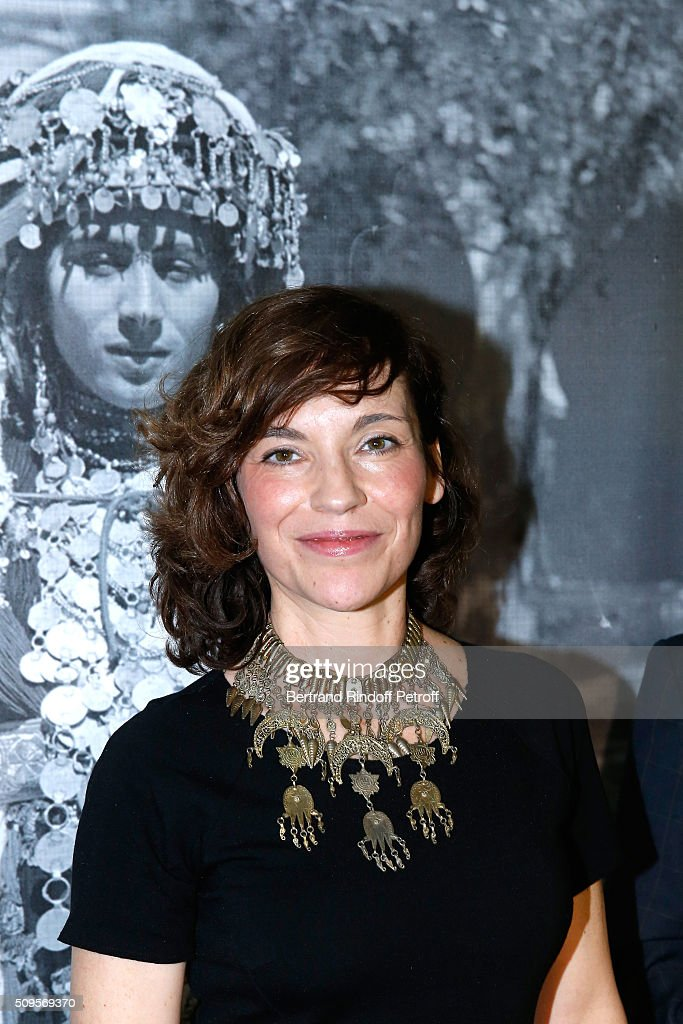 Actress Elodie Mennegand, wearing jewelry of the collection, attends the Opening of the Exhibition 'Tresors à porter', Treasures to wear, presented in the Museum of the 'Institut du Monde Arabe' on February 11, 2016 in Paris, France.