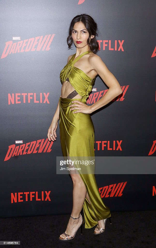Actress Elodie Yung attends the 'Daredevil' season 2 premiere at AMC Loews Lincoln Square 13 theater on March 10, 2016 in New York City.