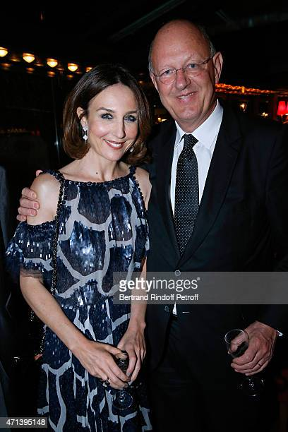 Actress Elsa Zylberstein and President of France Television Remy Pflimlin attend the Dinner after the 27th 'Nuit Des Molieres' 2015 Held at Closerie...