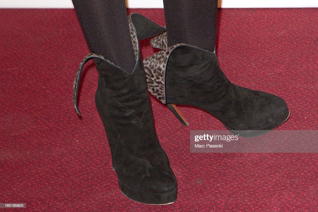 Actress Elsa Zylberstein (shoe detail) attends the 'Des Gens Qui S'embrassent' Premiere at Cinema Gaumont Marignan on April 1, 2013 in Paris, France.