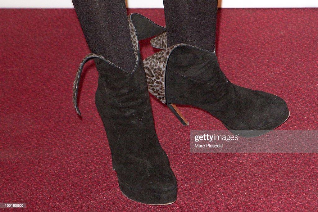 Actress Elsa Zylberstein (shoe detail) attends the 'Des Gens Qui S'embrassent' Premiere at Cinema Gaumont Marignan on April 1, 2013 in Paris, France.