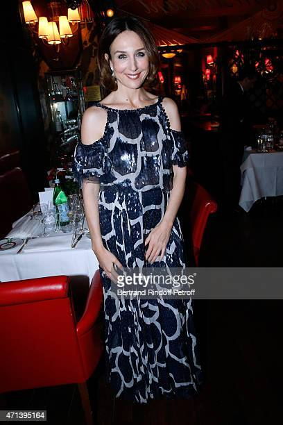 Actress Elsa Zylberstein attends the Dinner after the 27th 'Nuit Des Molieres' 2015 Held at Closerie des Lilas on April 27 2015 in Paris France