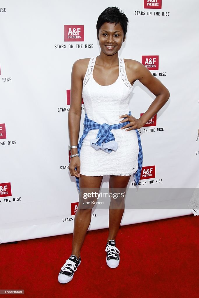Actress <a gi-track='captionPersonalityLinkClicked' href=/galleries/search?phrase=Emayatzy+Corinealdi&family=editorial&specificpeople=7068358 ng-click='$event.stopPropagation()'>Emayatzy Corinealdi</a> attends Abercrombie & Fitch Co. presents their 2013 'Stars On The Rise!' at The Grove on July 11, 2013 in Los Angeles, California.