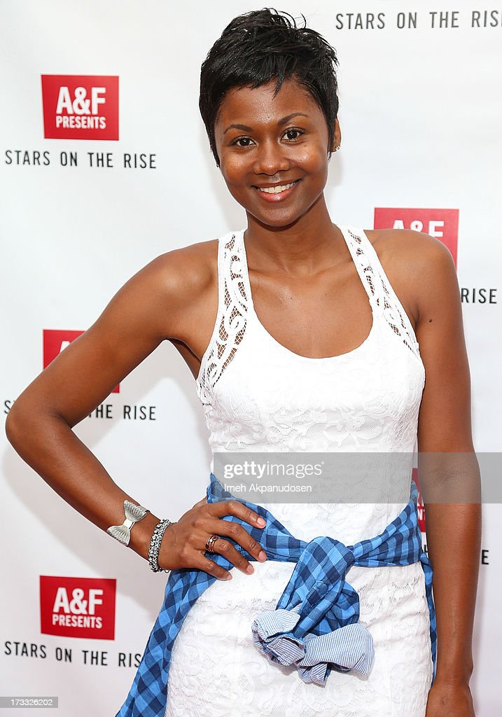 Actress <a gi-track='captionPersonalityLinkClicked' href=/galleries/search?phrase=Emayatzy+Corinealdi&family=editorial&specificpeople=7068358 ng-click='$event.stopPropagation()'>Emayatzy Corinealdi</a> attends Abercrombie & Fitch's presentation of their 2013 Stars on the Rise at The Grove on July 11, 2013 in Los Angeles, California.