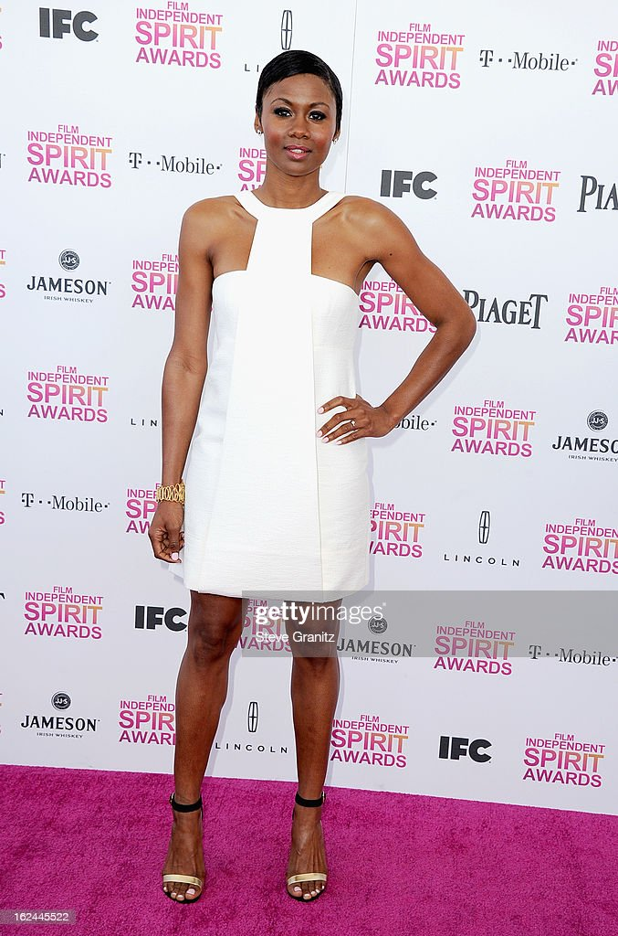 Actress Emayatzy Corinealdi attends the 2013 Film Independent Spirit Awards at Santa Monica Beach on February 23, 2013 in Santa Monica, California.