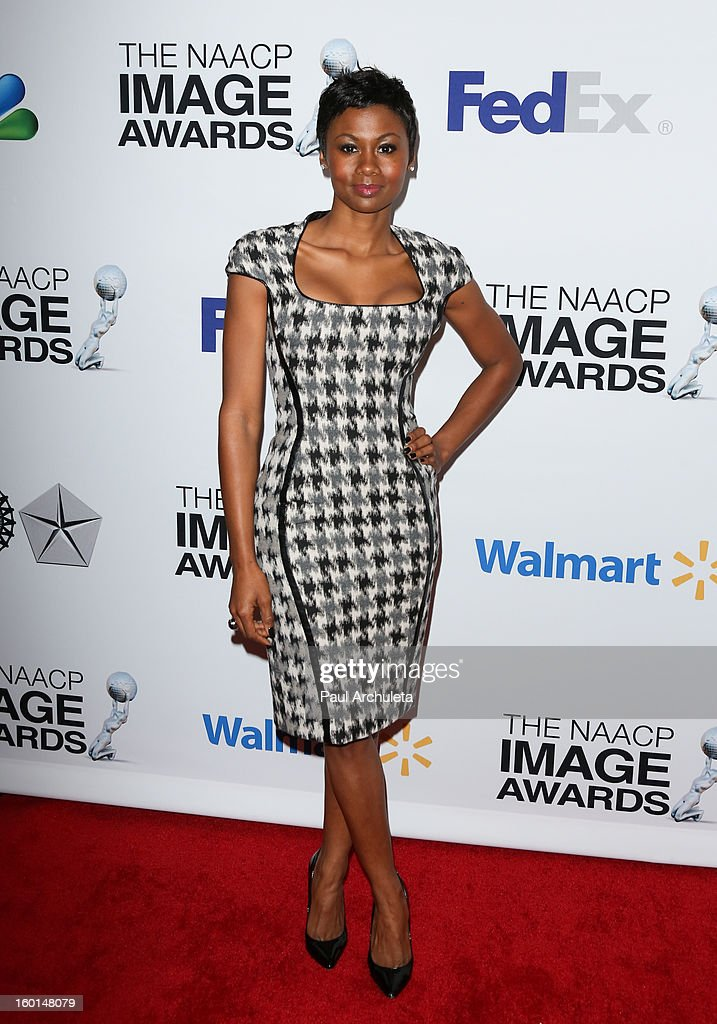 Actress Emayatzy Corinealdi attends the 44th NAACP Image Awards nominee's luncheon on January 26, 2013 in Beverly Hills, California.