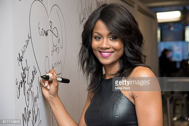 Actress Emayatzy Corinealdi attends the AOL Build Speaker Series to discuss the movie 'Miles Ahead' at AOL Studios In New York on March 23 2016 in...