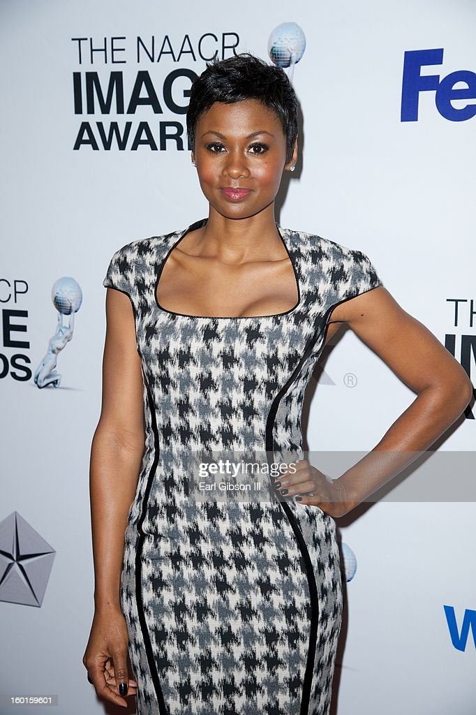 Actress Emayatzy Corinealdi attends the NAACP Inage Awards Nominee's Luncheon at Montage Beverly Hills on January 26, 2013 in Beverly Hills, California.