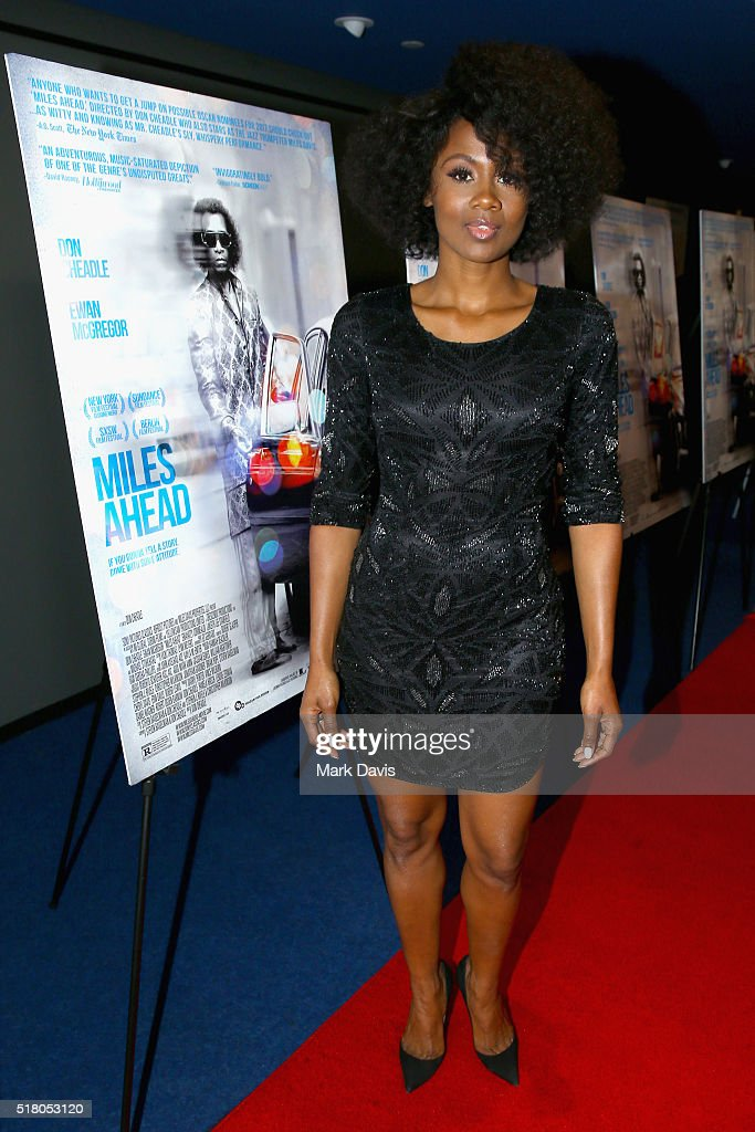 Actress Emayatzy Corinealdi attends the premiere of Sony Pictures Classics' 'Miles Ahead' at Writers Guild Theater on March 29, 2016 in Beverly Hills, California.