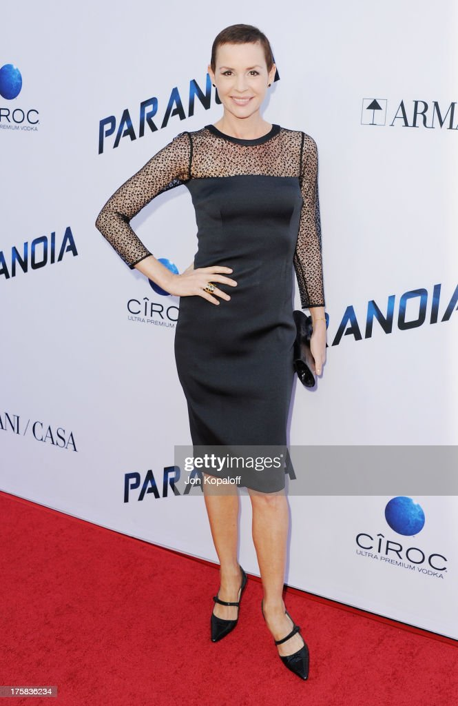 Actress <a gi-track='captionPersonalityLinkClicked' href=/galleries/search?phrase=Embeth+Davidtz&family=editorial&specificpeople=810596 ng-click='$event.stopPropagation()'>Embeth Davidtz</a> arrives at the Los Angeles Premiere 'Paranoia' at DGA Theater on August 8, 2013 in Los Angeles, California.