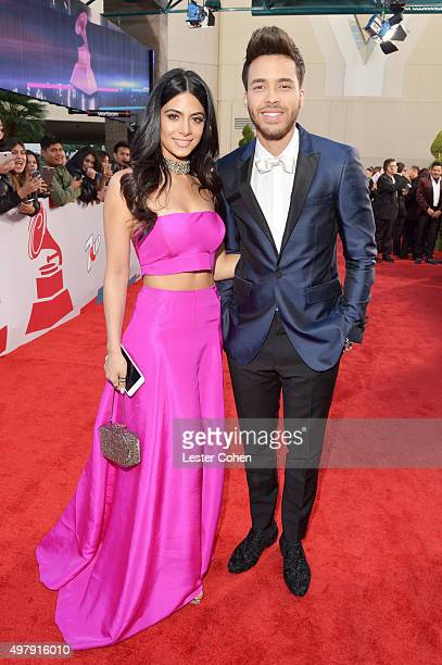 Actress Emeraude Toubia and singer Prince Royce attend the 16th Latin GRAMMY Awards at the MGM Grand Garden Arena on November 19 2015 in Las Vegas...