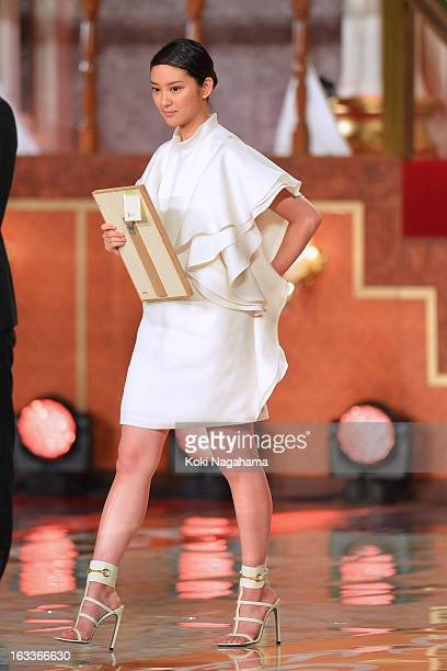 Actress Emi Takei accepts Award for New star during the 36th Japan Academy Prize Award Ceremony at Grand Prince Hotel Shin Takanawa on March 8 2013...